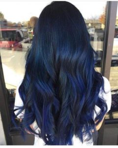Navy Blue Hair with Indigo Highlights