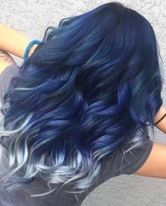 Navy Blue Hair with Silver Tips