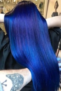 Neon Blue Hair with Dark Blue Roots