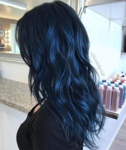 Dark navy blue hair