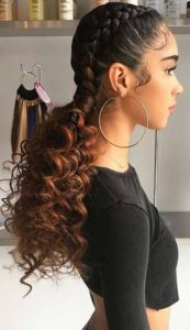 Dawn ombre two braids with weave