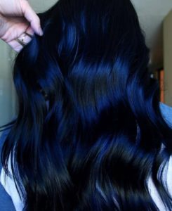 Deep navy blue hair