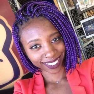 Deep purple medium box braids