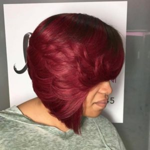 Deep red sew in bob