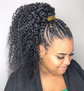 Full embroidery half braided ponytail with weave
