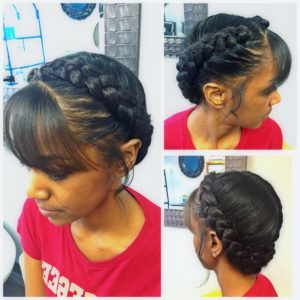 Goddess braid with bangs