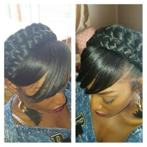 Goddess braid with weave