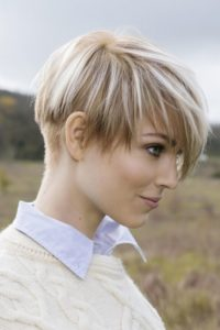 Caramel Pixie with Chunky Blonde Highlights