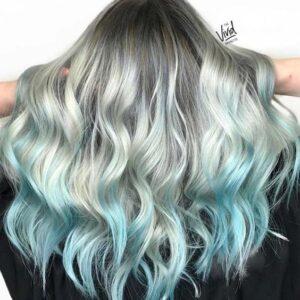 Powder Blue TIps on Ice White Hair