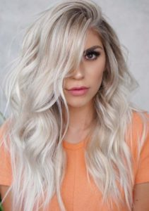 Gorgeous Long Relaxed Icy Blonde Waves