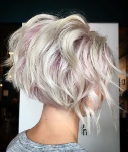 Tapered Bob with Baby Pink Highlights