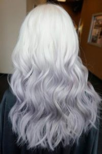White Blonde to Light Grey Ombre