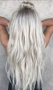 Long Straight Icy Blonde Hair