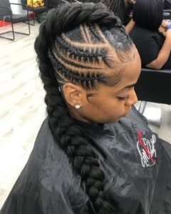 Mohawk braid with weave