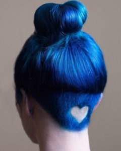 Electric Blue Hair with Heart Design