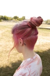 Rose Gold Undercut with Top Knot
