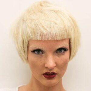 Platinum Blonde with Box Bangs