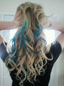 Bright Blonde Hair with Teal Highlights
