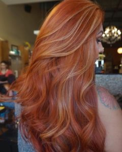 Classic Ginger Hair with Golden Blonde Highlights