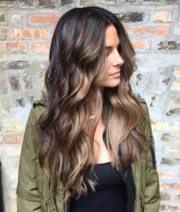 Dark Chocolate Hair with Face-Framing Caramel Highlights