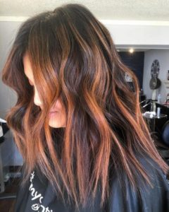 Partial Auburn Highlights in Dark Brown Hair