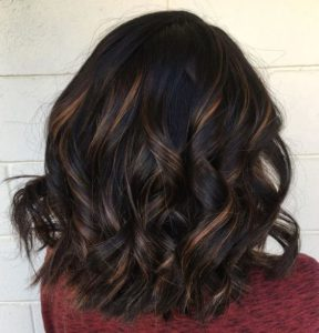 Partial Chestnut Highlights in Dark Chocolate Hair