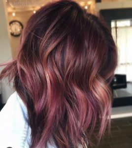 Peachy coppery melted with some more purply : mauve