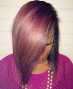 Rainbow sew in bob