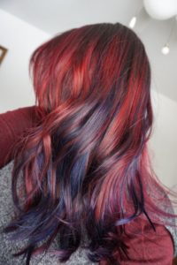 Red to blue balayage