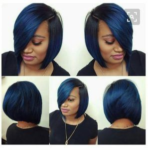 Steel blue sew in bob