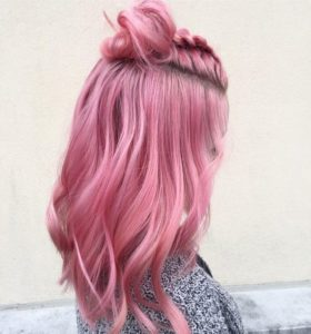 Blush Pink Hair with Top Knot