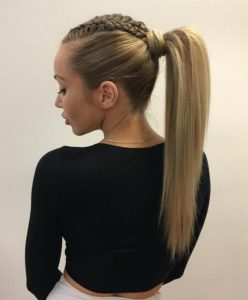 High Ponytail with Fed in Braids
