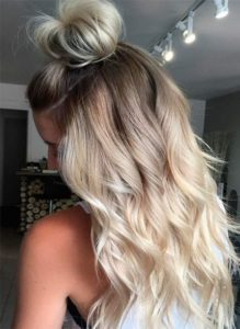 Half Top Knot and Beachy Blonde Waves