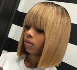 blonde sew in with bangs