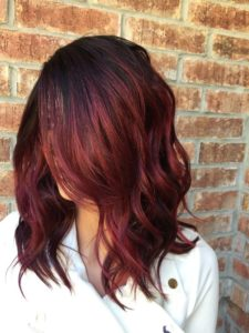 cherry red balayage