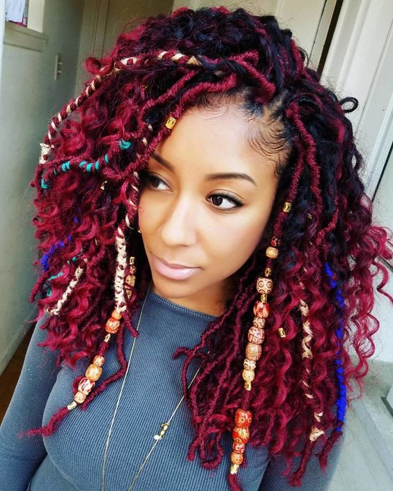 curly messy red locs