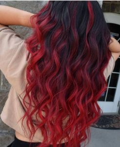 curly red balayage