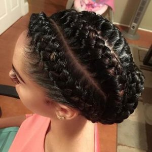 extra large braid updo with weave