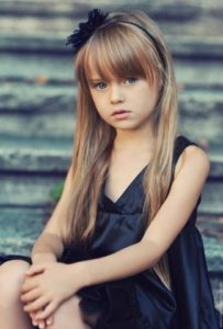 long hair with arched bangs