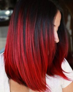 red feathered balayage highlights