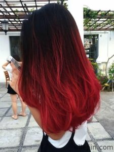 red ombre balayage