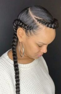 side part two braid with weave