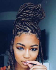 sleek Faux Locs updo