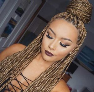 small blonde box braids
