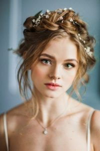 thick braid crown with flowers