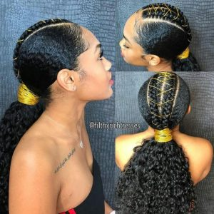 braided weave with golden strings