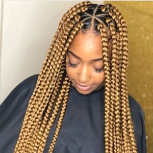 Blonde Large Triangle box braids