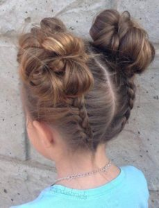 Reverse Dutch Braids and Space Buns