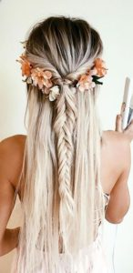 Half Fishtail Braid with Flowers
