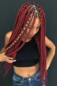 Bright Red Triangle Box Braids